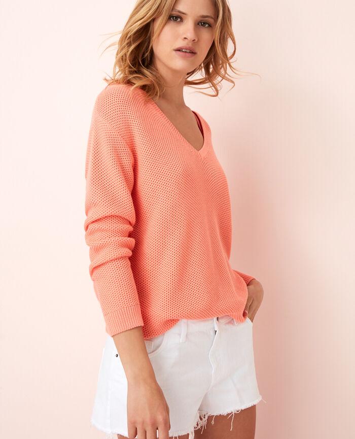 Pullover mit V-Ausschnitt Grapefruit Rosa CACHOU