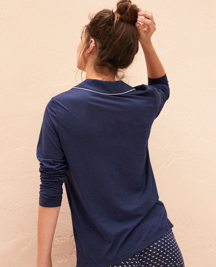 Pyjama-Jacke Marineblau LATTE