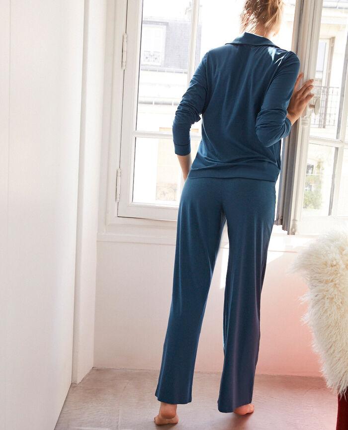 Pyjama-Jacke Jazz blau DIMANCHE