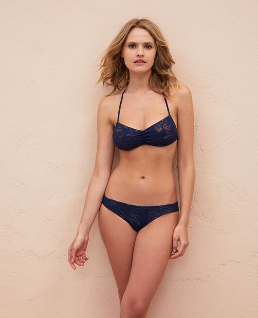Gepolstertes Bandeau-Bikini-Oberteil ohne Bügel Nachtblau GUELIZ