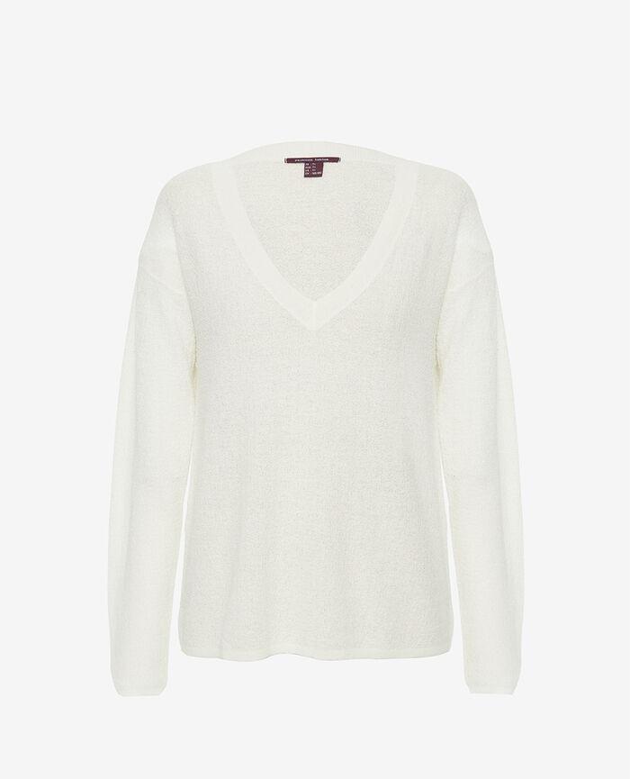 Pullover mit V-Ausschnitt Elfenbeinfarben MAJORELLE