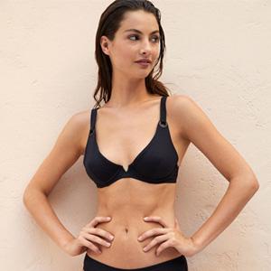 Schwarz Triangel-Bikini-Oberteil großen Größen